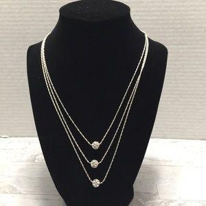 Aigner clear stone multi strand necklace